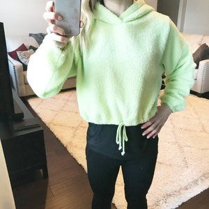 Wild Fable Lime Cropped Sherpa Fleece